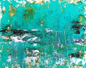 Abstract Painting Sea Rain -Turquoise Blue Ocean Water Seascape Beach Waves Nature
