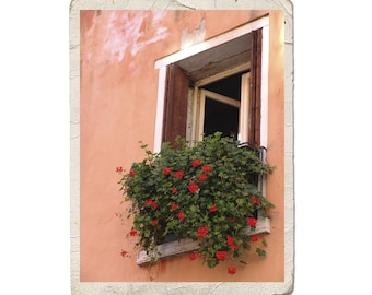 Window In Venice Fine Art Italy Photograph Rustic Peach Red Flowers Italian Garden Vintage Style Architecture Romantic
