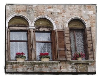 Italy Photograph Three Windows In Tuscany Florence Italian Architecture Travel Decor Red Flower