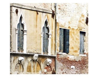 Three Muses Fine Art Italy Photograph Rustic Italian Venice Architecture Blue Windows Travel Yellow Sculpture