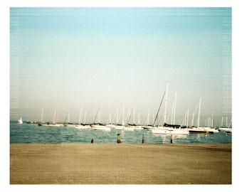 Sailboats Vintage Style Fine Art Photograph Boat Sailing Nautical Blue Landscape Harbor Chicago Lake Michigan