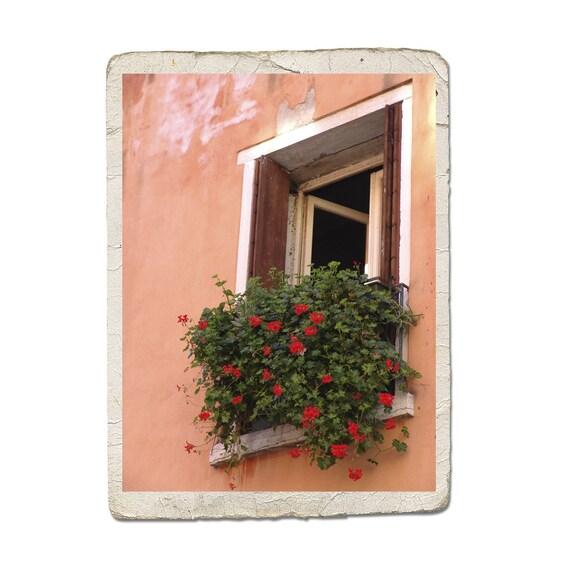 Window In Venice Fine Art Italy Photograph Rustic Peach Red Flowers Italian Garden Vintage Style Architecture Romantic