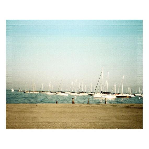 Sailboats Vintage Style Fine Art Photograph Boat Sailing Nautical Blue Landscape Harbor Chicago Lake Michigan