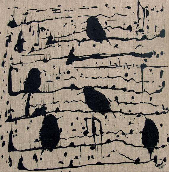 Abstract Bird Painting Twitter Tweet -Hummingbird Black Music Neutral Decor Canvas Large Original Contemporary