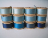 12 Vintage Wooden Spools of Blue Silk Thread  BELDING CORTICELLI