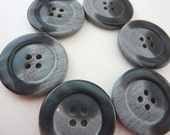 6 x Gray / Grey Buttons With Marbled Pattern