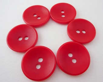 100 x Red Buttons - tagua nut - vegetable ivory - corozo