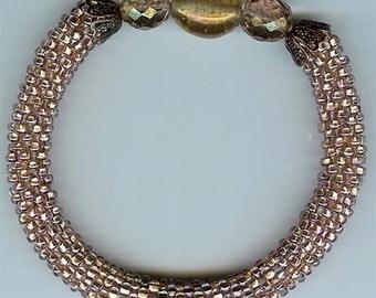 "Peach Bead Crochet Bangle Bracelet - 7"""