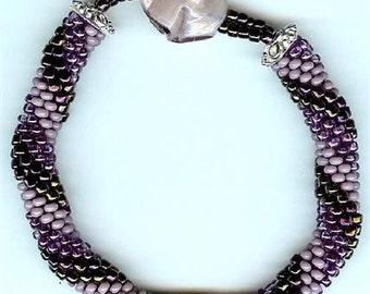 "Purple Metallic Bangle Bracelet - 7-1/2"""