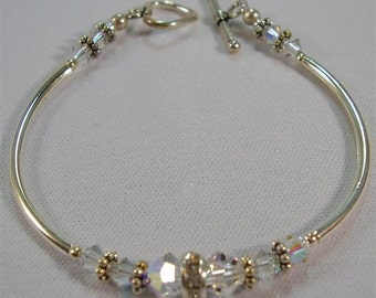 """Clear Crystal and Silver Bracelet - 6"""""""