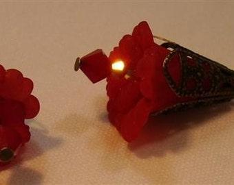 "Dark Red Coral Lucite Flower Earrings -  2-1/2"" long"