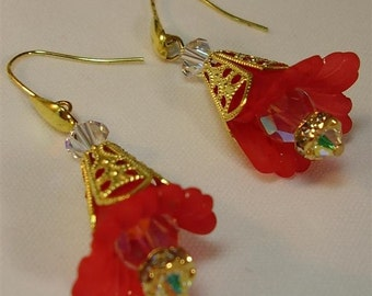 """Red and Gold Lucite Flower Earrings - 2"""""""
