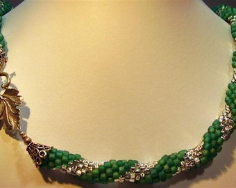 """Green and Silver Bead Crochet Necklace - 26"""""""