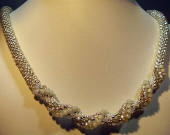 Silver Bead Crochet Necklace - 30""