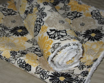 Baby Burp Cloths - Set of 2    Yellow Flowers & Chenille