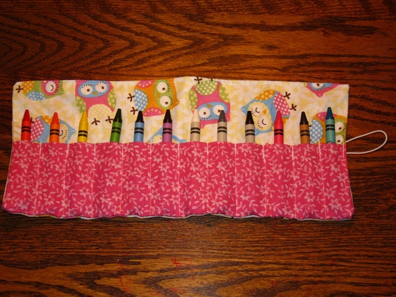 Crayon Roll Up in Owls - Holds 12 Crayons (included)