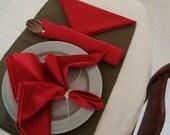 Cotton Napkins - Red - Set of 6