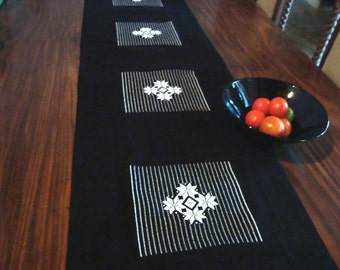Black and White Bed / Table Runner Hand woven