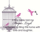Wall Decal Quote Nursery Bird Cage with 3 Birds and Skeleton Key with Name and Quote Wall Decal Wall Sticker Wall Tattoo Wall Transfer