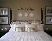 Wall Decal Quote  Mr. & Mrs. with Year Wall Decal/Sticker/Lettering/Transfer