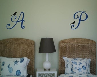 Monogram with Bird Wall Decal Wall Lettering