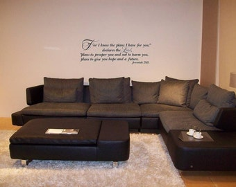 Jeremiah 29 For I know the plans I have for you declares the Lord Wall Decal