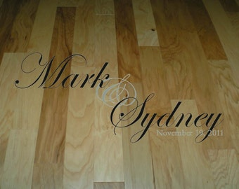 Wall Decal Quote Floor Decal Wedding Dance Floor Bride and Groom Names and Wedding Date XL Large Decal Wall Sticker Wall Transfer