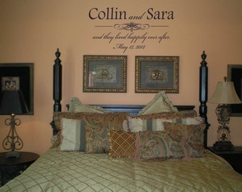 Wall Decal Quote Wall Sticker Couple Names and Date as well as They Lived Happily Ever After