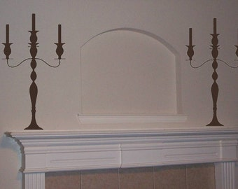Elegant 3 Light Candleabra Wall Decal-Set of 2 Candleabras