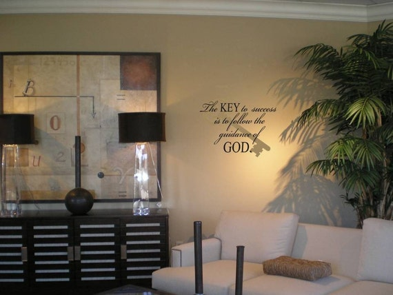 Wall Decal Wall Transfer The Key to Success is to follow the Guidance of God with large Antique Key