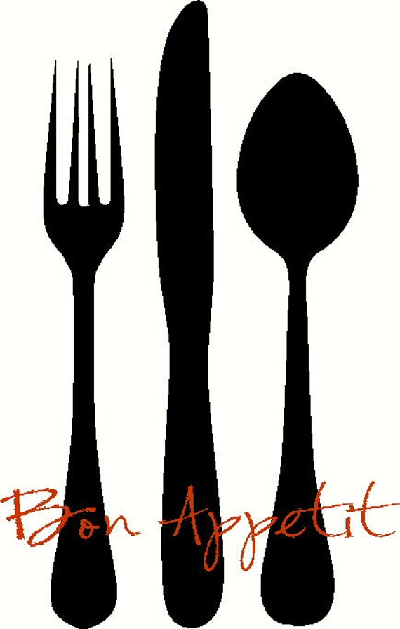 NEW DESIGN Bon Appetit/EAT with Large Silverware Wall Decal Wall Stickers Wall Tattoo