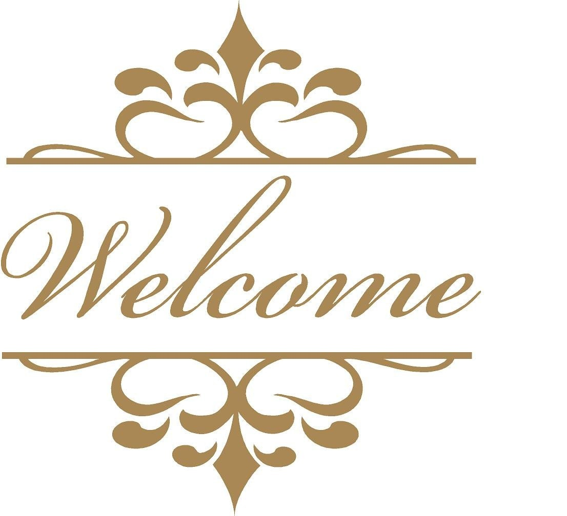 wall decal welcome with flourish motif frame wall decal wall