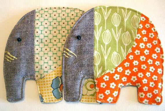 set of 2 -  elephant coasters - retro