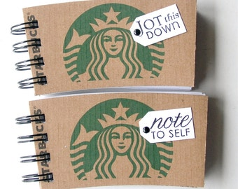 STARBUCKS NOTEBOOK made out of Coffee Sleeves-set of 2