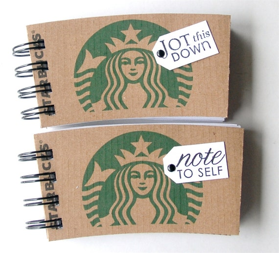 STARBUCKS SPIRAL NOTEPAD made out of Coffee Sleeves-set of 2