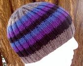 KNITTING PATTERN/ FINN/ Ribbed Beanie Hat for Men Women & Teens/Knit Round/Striped Hat Pattern/Mans Striped Hat/Easy Striped Hat/Man Beanie