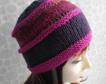 KNITTING PATTERN/VERMONT Womans Hat Pattern Noro Wool/Aran Worsted Noro Wool/Intermediate/Womans Hat Pattern/Multicolor Hat/Woolen Hat