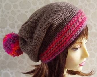 Beginner Beanie Knitting Pattern : Items similar to CHOOSE YOUR COLORS small kid knited hat with giant pompon on...