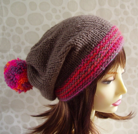 KNITTING PATTERN/ MARTA Womans Slouchy Knit Hat with Giant