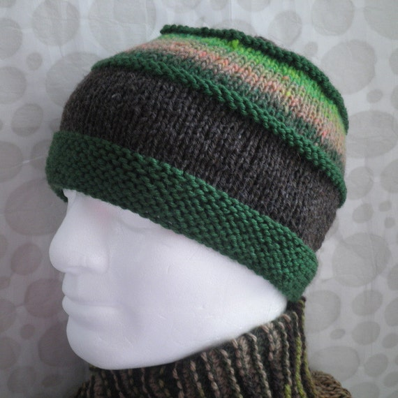 Knit Hat Patterns Straight Needles : KNITTING PATTERN/ VERMONT Tweed Wool Hat Pattern for Men and Women/Knit on St...