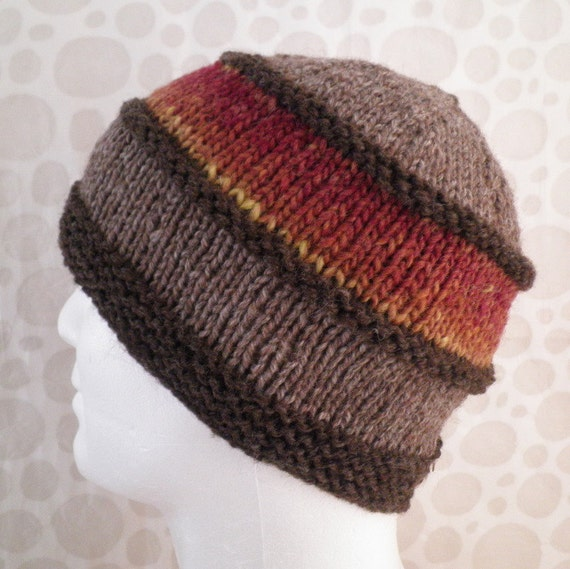 KNITTING PATTERN/ VERMONT Tweed Wool Hat Pattern for Men and Women/Knit on St...