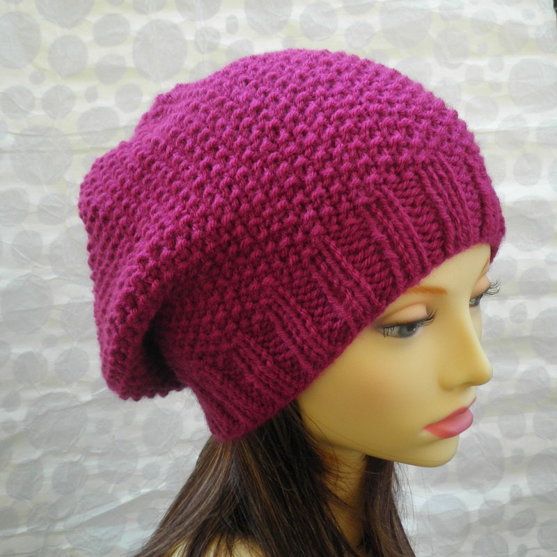 Knitting Pattern For Slouchy Hat : KNITTING PATTERN /ROXANNE Womans Slouchy Hat in Textured