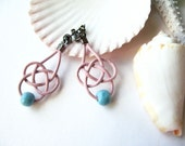 Twist Sky Blue and Pink leather  - Earrings