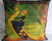 "Designer  Pillow Cover - ""PEACOCKS GARDEN"" - 18x18 - Artwork Designed and Hand Made by Billie Anderson in Bigfork Montana USA"