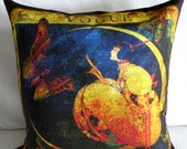 "Designer Pillow Cover - ""MOON SONG"" - 20' X 20'     - Artwork Designed and Hand Made by Billie Anderson in Bigfork Montana USA"