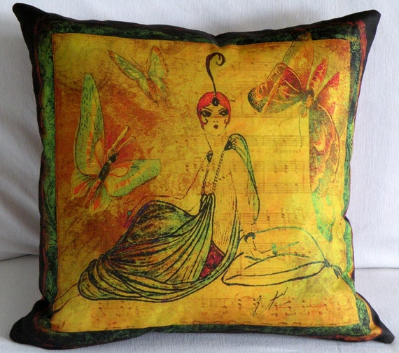 """Designer Pillow Cover -  """"IN REPOSE""""              20' X 20' - Artwork Designed and Hand Made by Billie Anderson in Bigfork Montana USA"""