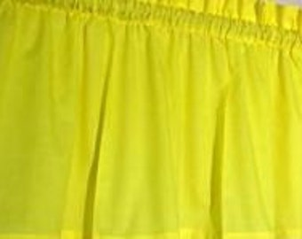 New Window Curtain Valance made from Solid Bright Yellow Sunshine Cotton Fabric