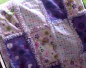 BIG Purple Patchwork Baby or Toddler Rag Quilt