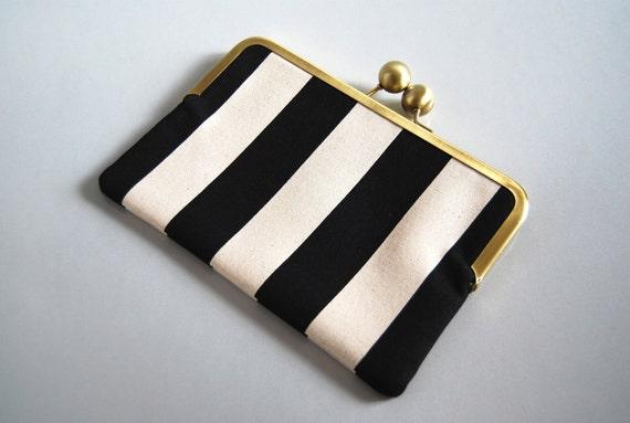 "iPad mini and eReader Clutch Case ""Black Stripes"""