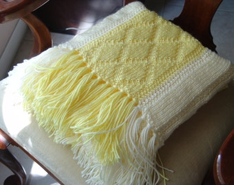 Knitted Afghan in Soft Yellow & Off White Diamonds